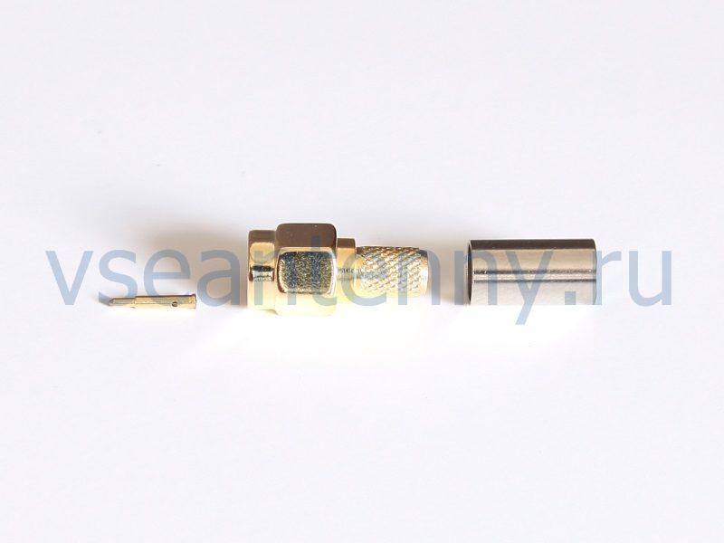 Разъем SMA-C58P штекер, на кабель типа RG-58, под обжим